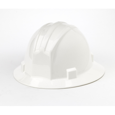 M50210-10, Polyethylene Ratchet Suspension Full Brim Hard Hat, White, Mutual Industries