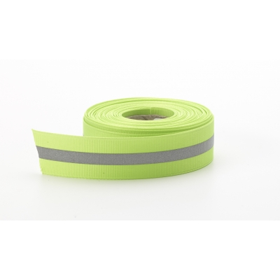 M5070-005-LM, Reflective ribbon, .875 in Wide, .25 in reflective stripe, 5 yds, Lime, Mutual Industries