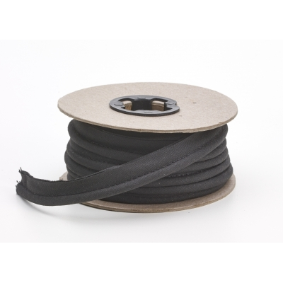 M62-050-9999-15, Broadcloth cord piping, 1/2 in Wide, 15 yds, Black, Mutual Industries