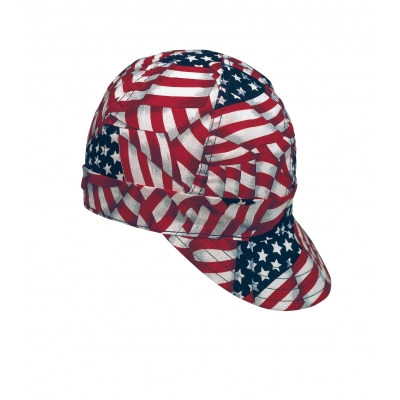 M7336-0-0, Kromer Welder Cap, Cotton, Length 5 in, Width 6 in- 1size, USA Flag, Mutual Industries