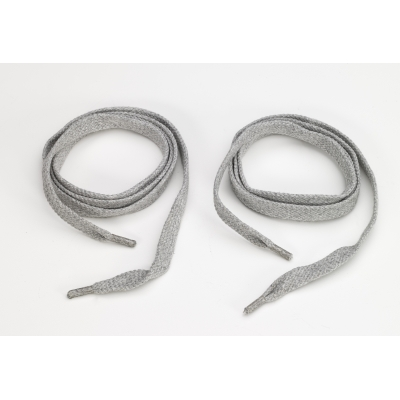 M8900-0002-60F, Flat cord 5/8 in tipped laces, 60 in lengths, Heather grey, Mutual Industries